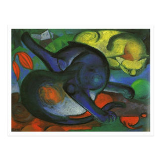 Franz Marc - Two Cats Blue & Yellow 1912 kitty oil Post Cards