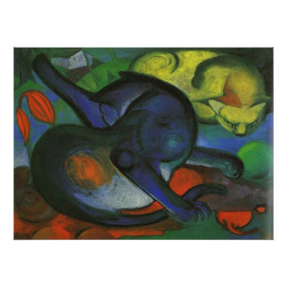 Franz Marc - Two Cats Blue & Yellow 1912 kitty oil Posters