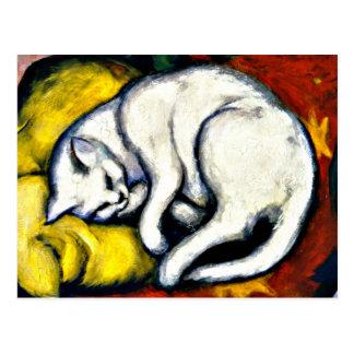 Franz Marc - White Cat. Franz Marc 1912 painting. Postcard