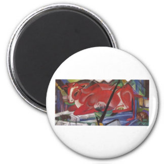 Franz Marc World Cow 1913 Canvas Cows Double Image 2 Inch Round Magnet