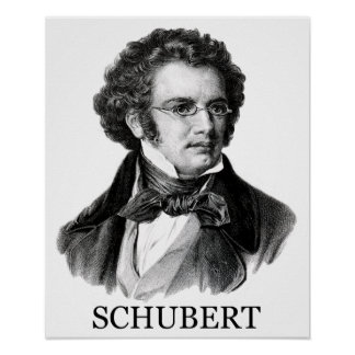 Franz Schubert, black Poster
