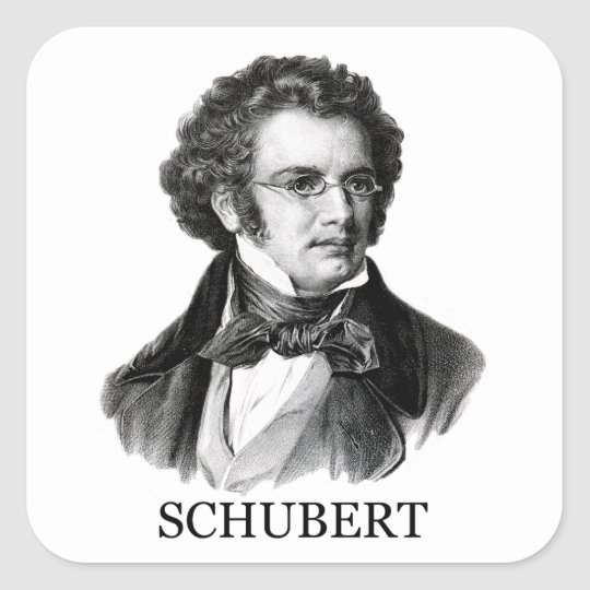 Franz Schubert, black Square Sticker