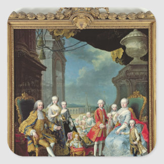 Franz Stephan I  with his wife Marie-Therese Square Sticker