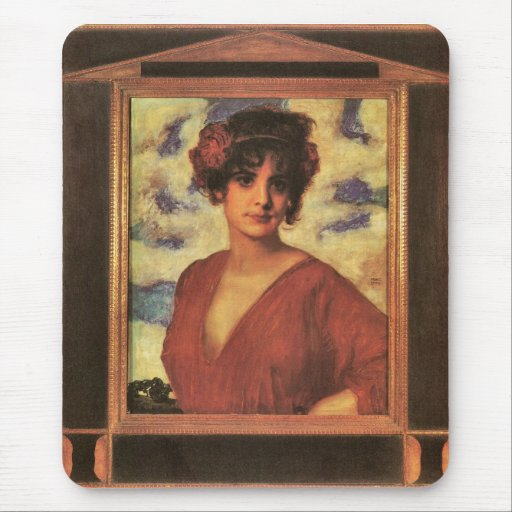Franz von Stuck - Lady in Red Mousepad