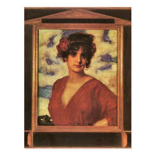 Franz von Stuck - Lady in Red Postcard
