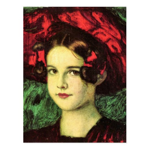 Franz von Stuck - Mary with red hat Post Card
