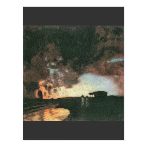 Franz von Stuck - Sunset at the sea Postcard