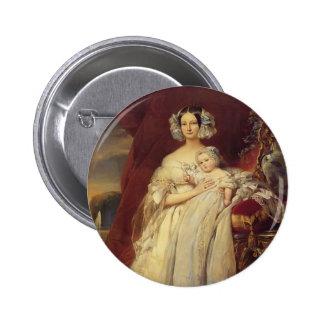 Franz Winterhalter-Duchess of Orlean with his son Pinback Button