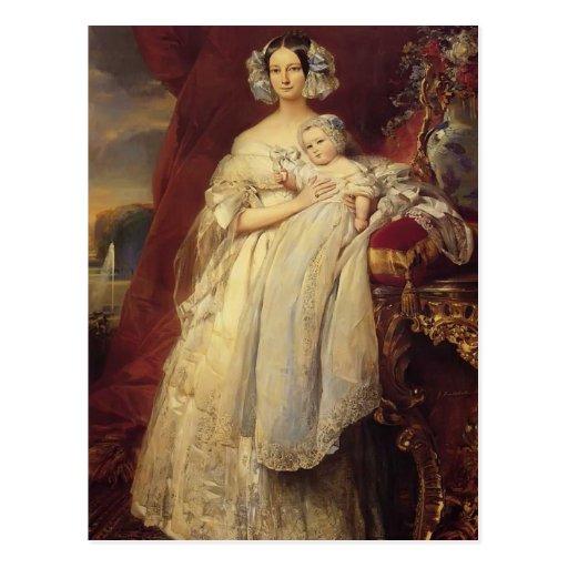 Franz Winterhalter-Duchess of Orlean with his son Post Card
