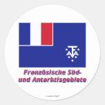 Französische Süd- und Antarktisgebiete Flagge Name Classic Round Sticker