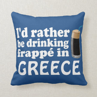 Frappé in Greece Throw Pillows