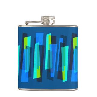 Frasco abstracto azul y verde retro de la petaca