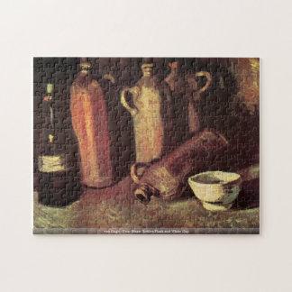 Frasco de piedra de cuatro botellas y taza blanca  puzzle con fotos