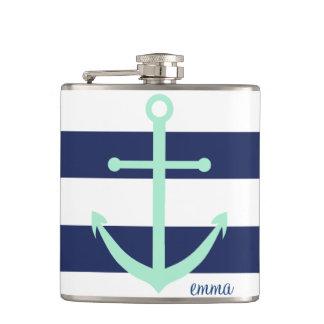 Frasco del ancla del monograma de los azules marin