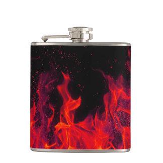 frasco negro rojo de la llama del fuego real petaca