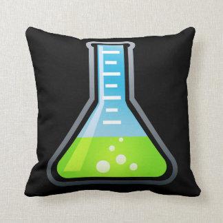 Frasco verde de la ciencia almohada