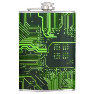 Frasco verde de la placa de circuito del ordenador petaca
