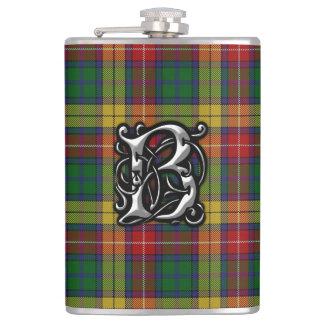 Frasco viejo de Escocia del tartán de Buchanan del Petaca