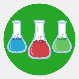 Frascos de la ciencia pegatina redonda