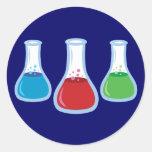 Frascos de la ciencia pegatinas redondas