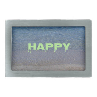 Frase feliz del lugar de la verde lima en el lago hebilla cinturón rectangular