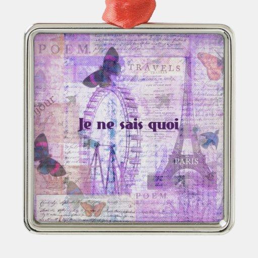 Frase francesa del quoi de los sais del ne de Je - Adorno Cuadrado Plateado