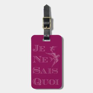 """Frase francesa """"quoi de los sais del ne del je"""" etiqueta de maleta"""