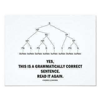"""Frase gramatical correcta del búfalo (8 veces) invitación 4.25"""" x 5.5"""""""