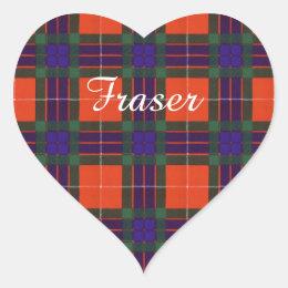 Fraser clan Plaid Scottish tartan Heart Sticker