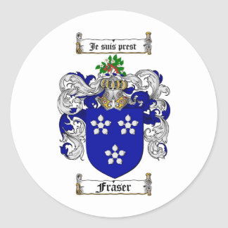 FRASER FAMILY CREST -  FRASER COAT OF ARMS CLASSIC ROUND STICKER