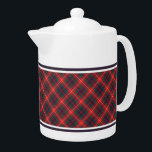 "Fraser of Lovat Red and Navy Blue Scottish Tartan Teapot<br><div class=""desc"">Teapot with the modern family tartan for Clan Fraser of Lovat and its septs,  including MacKim and Simpson. Vintage Scottish plaid pattern dated to 1893 in navy blue,  bright red,  and forest green,  with white accents. Choose from two sizes. Matching teacups and mugs available.</div>"