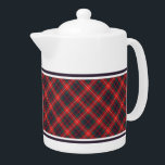 """Fraser of Lovat Red and Navy Blue Scottish Tartan Teapot<br><div class=""""desc"""">Teapot with the modern family tartan for Clan Fraser of Lovat and its septs,  including MacKim and Simpson. Vintage Scottish plaid pattern dated to 1893 in navy blue,  bright red,  and forest green,  with white accents. Choose from two sizes. Matching teacups and mugs available.</div>"""