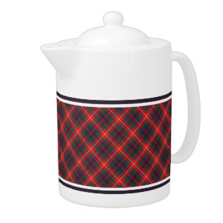 Fraser Of Lovat Red And Navy Blue Scottish Tartan Teapot at Zazzle