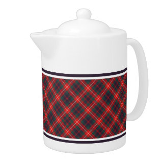 Fraser of Lovat Red and Navy Blue Scottish Tartan Teapot