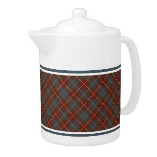 Fraser of Lovat Reproduction Tartan Dark Red Plaid Teapot