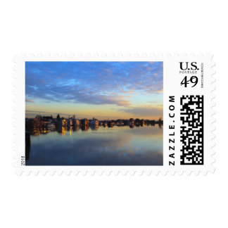 Fraser River, house boats at sunset Postage Stamps