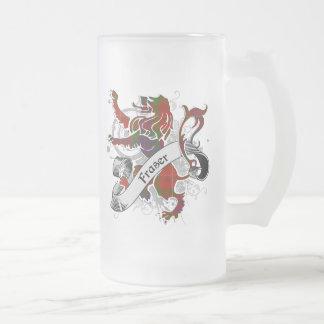 Fraser Tartan Lion Frosted Glass Beer Mug