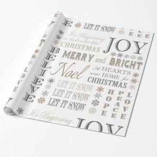 frases modernas del día de fiesta del vintage papel de regalo