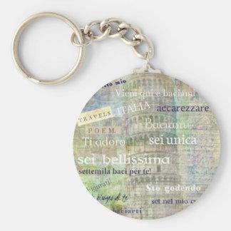 Frases y palabras italianas románticas llavero redondo tipo pin