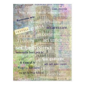 Frases y palabras italianas románticas postales