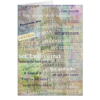 Frases y palabras italianas románticas tarjeta de felicitación