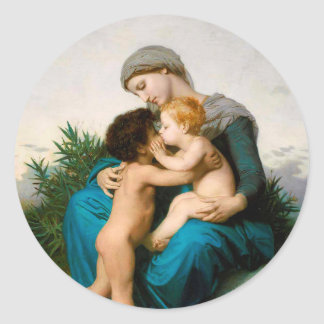 Fraternal Love, Mother with Children by Bouguereau Classic Round Sticker