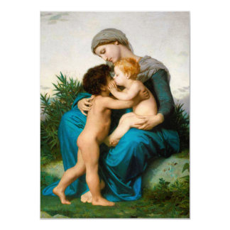 Fraternal Love, Mother with Children by Bouguereau 4.5x6.25 Paper Invitation Card