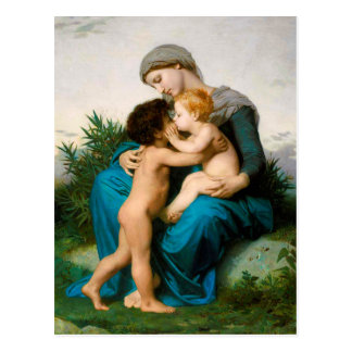 Fraternal Love, Mother with Children by Bouguereau Postcard