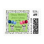 Fraternal Twin Personalized Green Birthday Postage