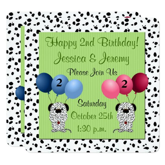 Fraternal Twins 2nd Birthday Party Green Invitation