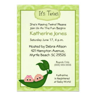 Fraternal Twins Baby Shower Invitation