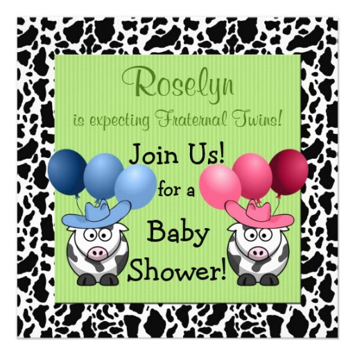 Fraternal Twins Baby Shower Invitation Green