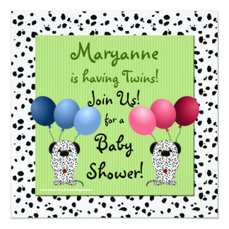 Fraternal Twins Baby Shower Invitation Green Dalma