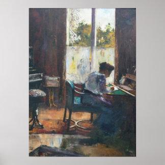 Frau am Schreibtisch Poster